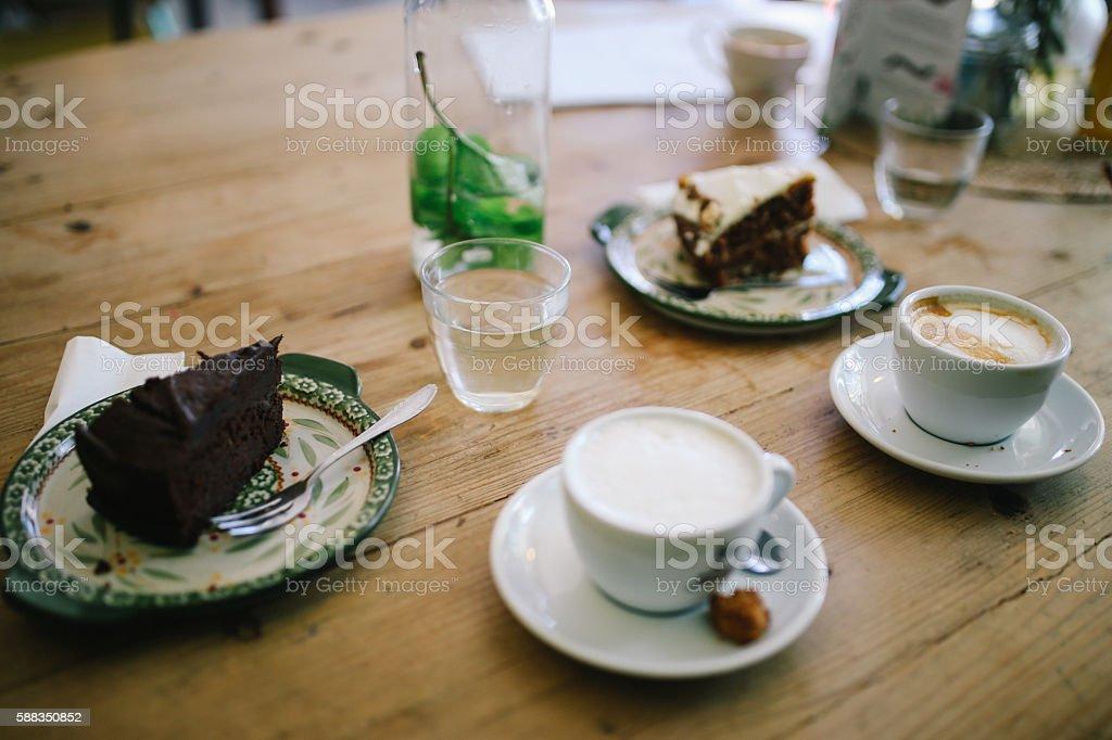Coffee break in the cafe stock photo
