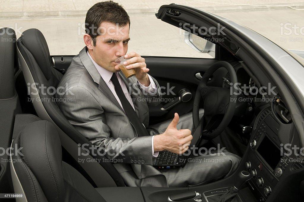 Coffee break in the convertible stock photo