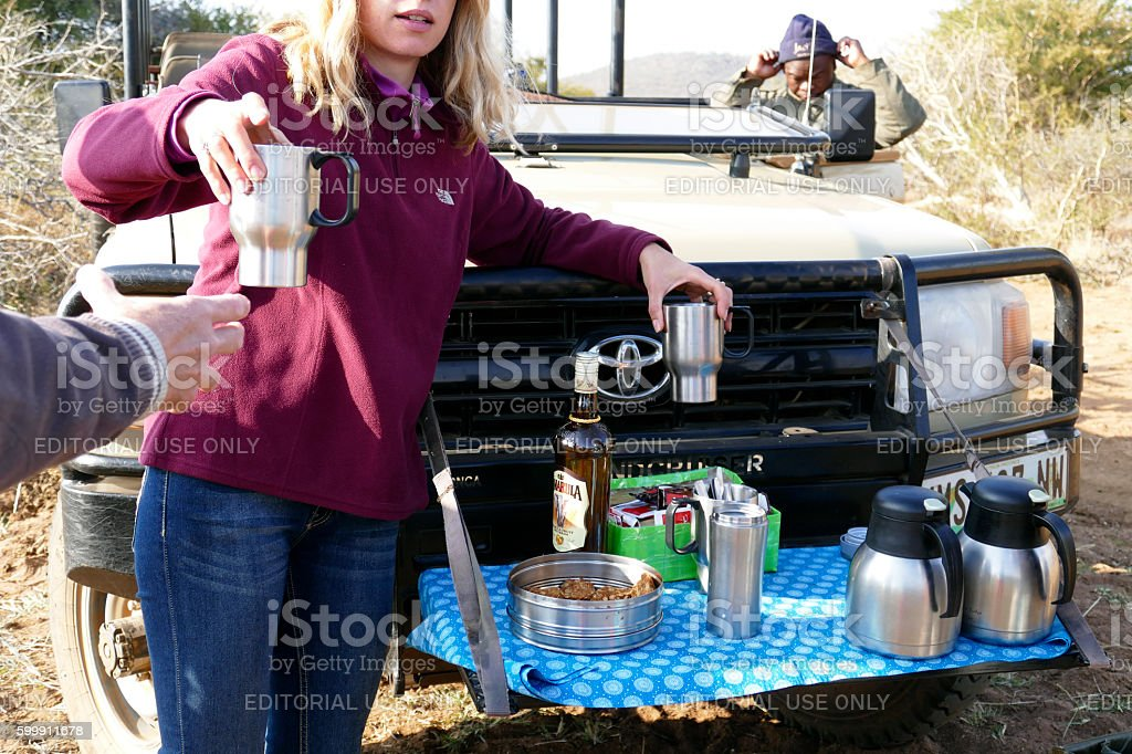 Coffee break in the wilderness, Madikwe Game Reserve,South Africa stock photo