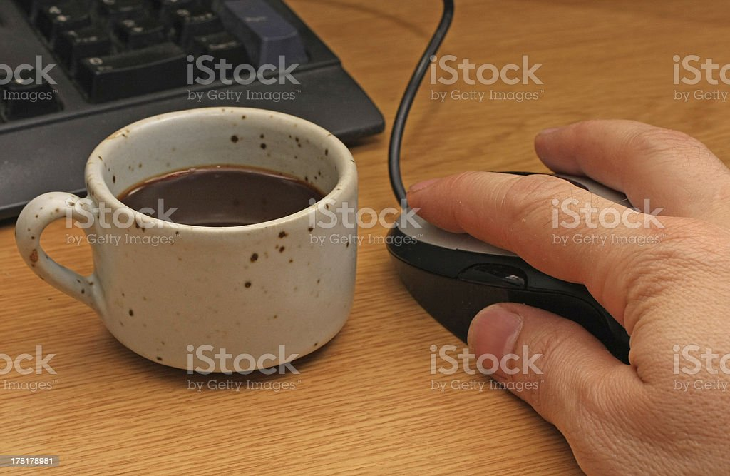 coffee break to the computer royalty-free stock photo