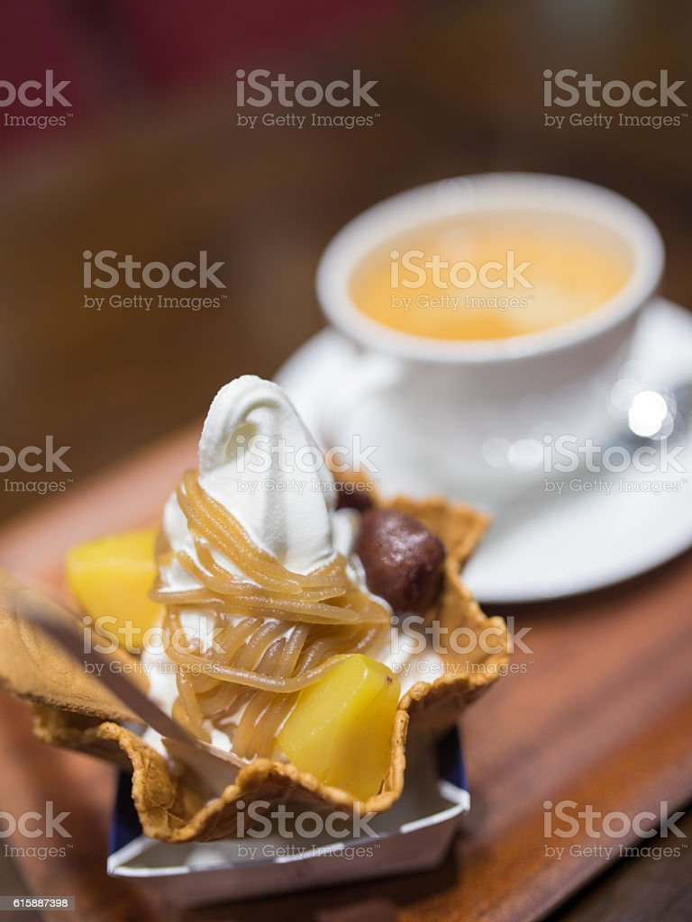 Coffee break with chestnut sweets stock photo