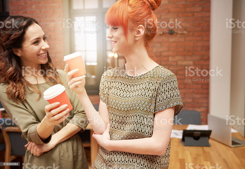 Coffee break with coworker stock photo
