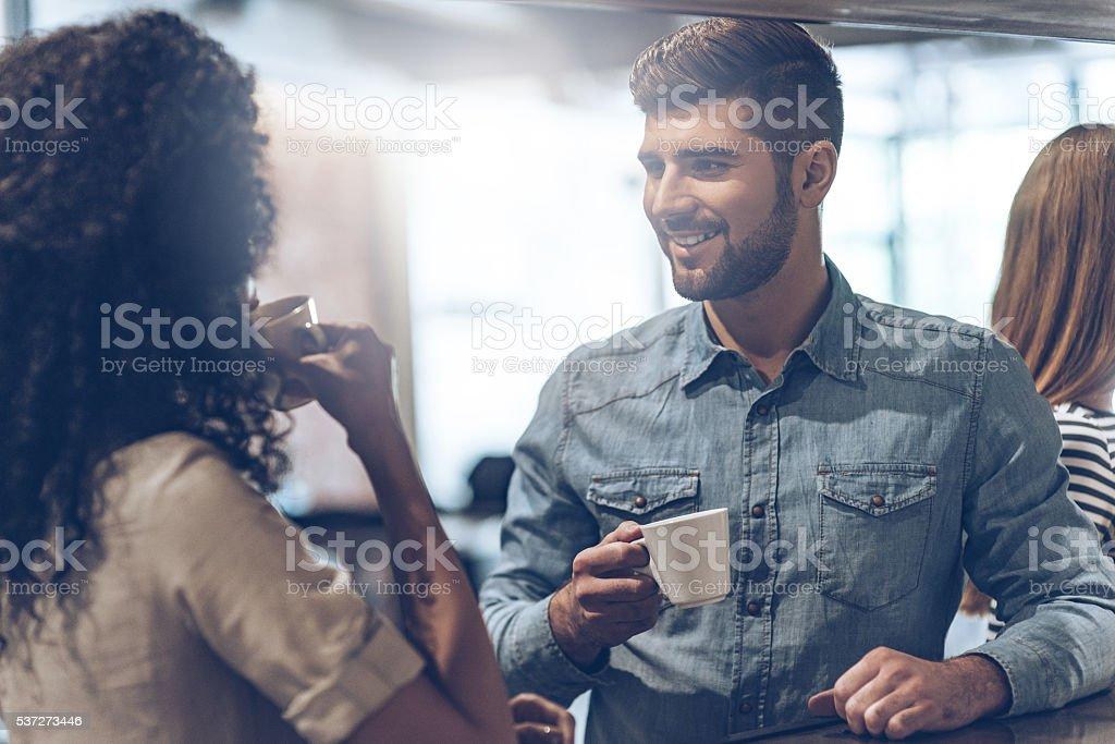 Coffee break with joy. stock photo
