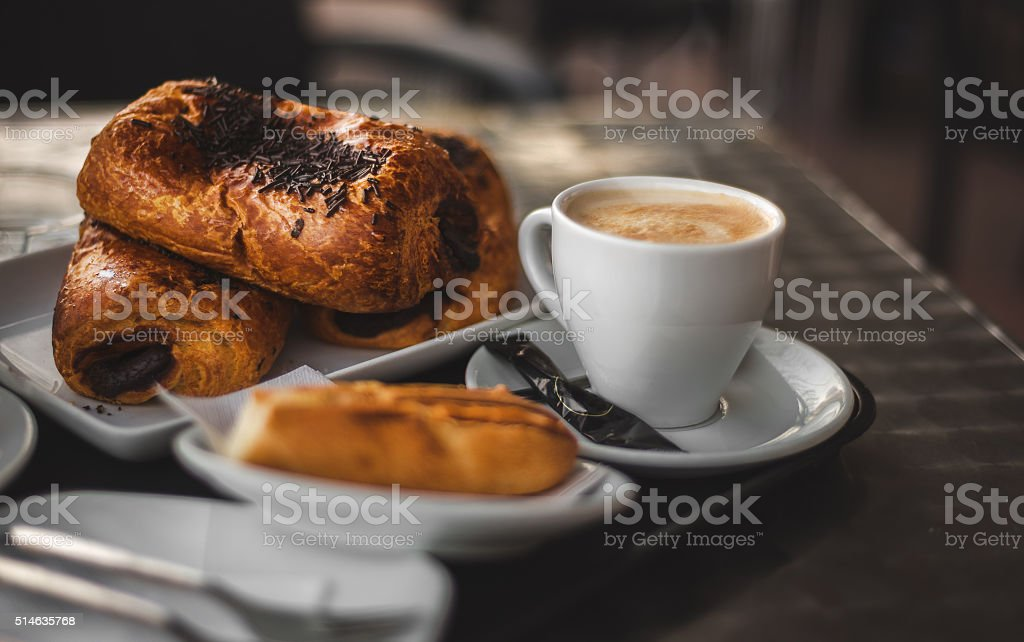 Coffee break with postry. stock photo