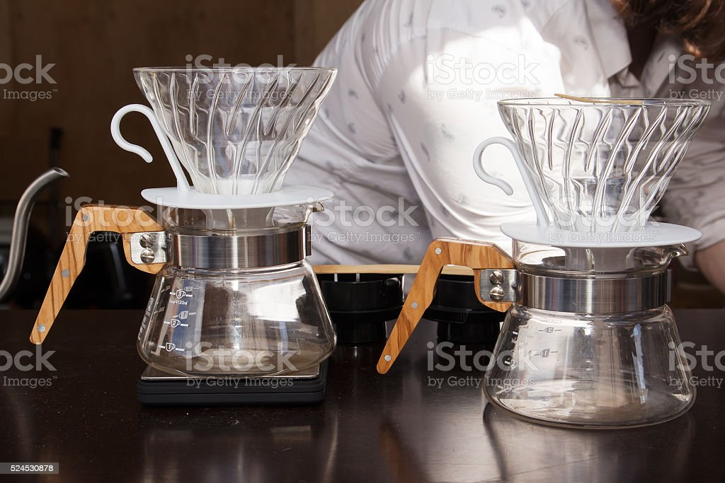 coffee brewing method whole process by barista stock photo