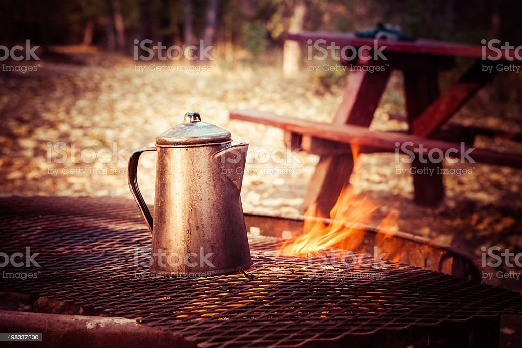 Coffee Brewing On A Campfire stock photo