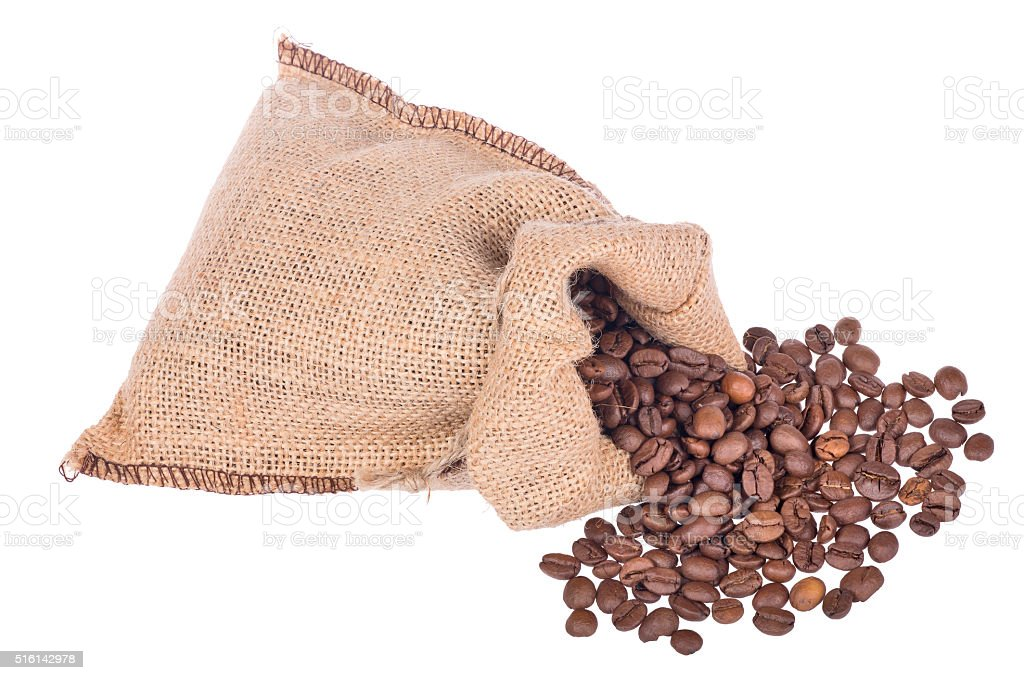 coffee brown beans in burlap sack on white stock photo