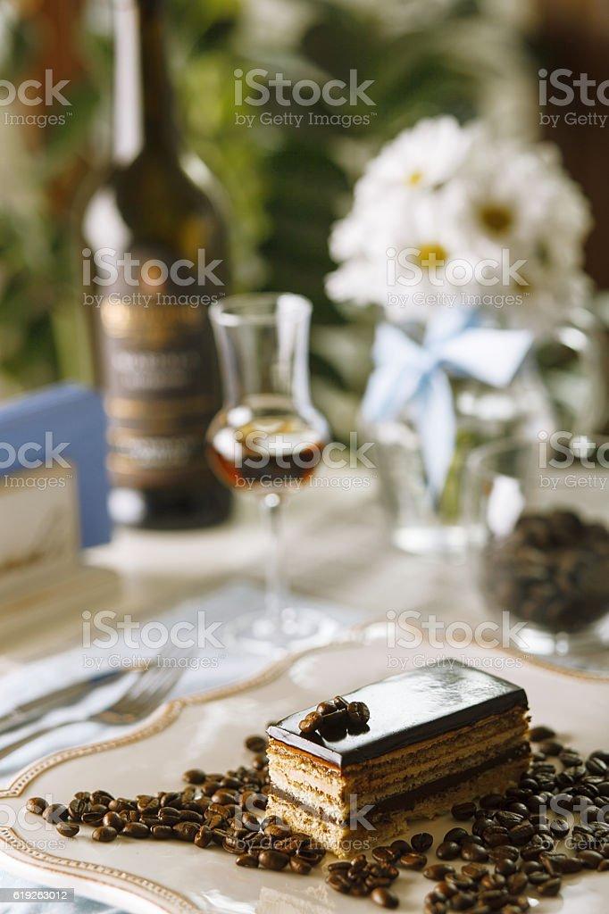 coffee cake napoleon restaurant stock photo