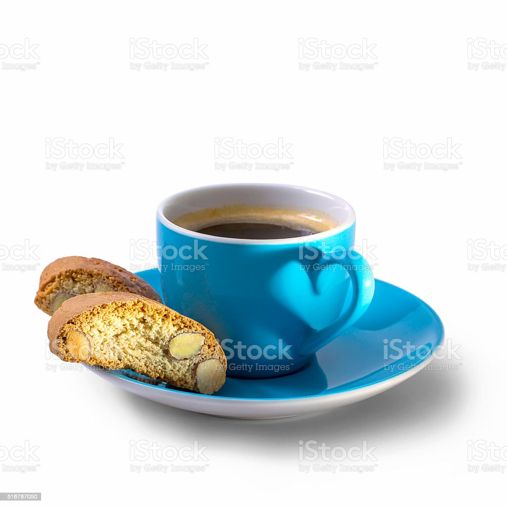 Coffee, cantuccini and shadow in heart shape stock photo