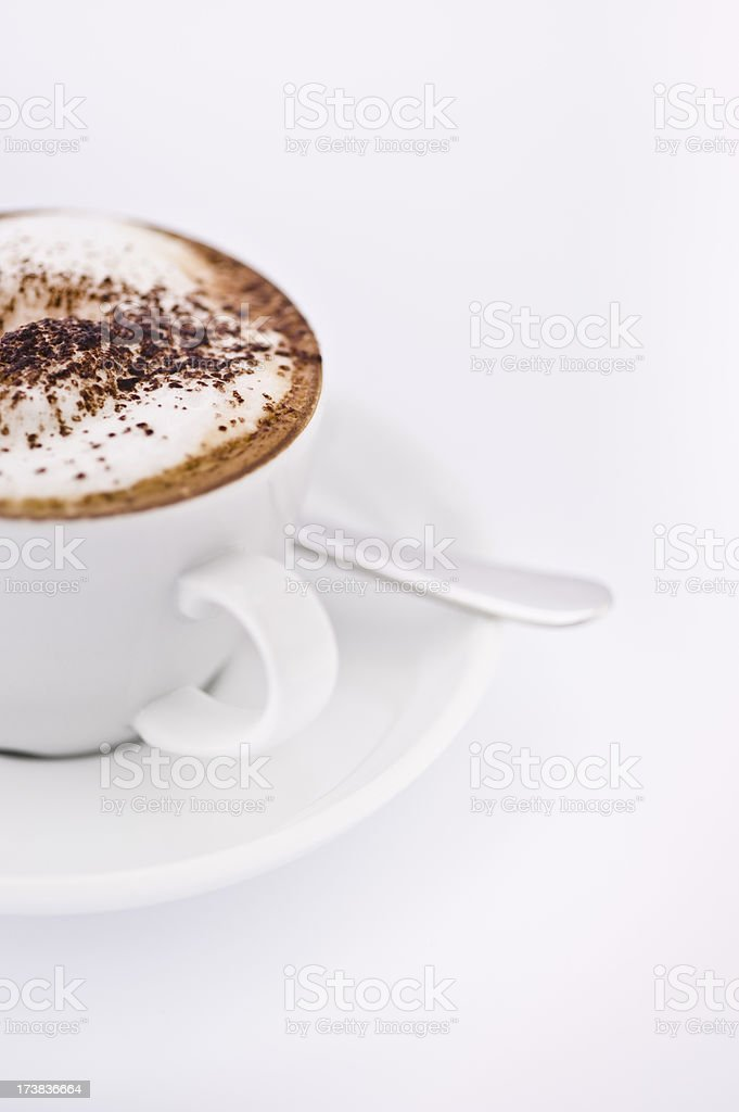 Coffee Cappuccino in cup & saucer stock photo