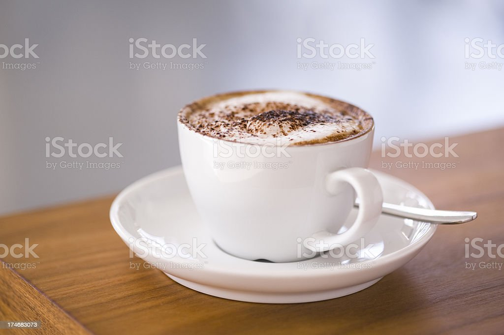 Coffee Cappuccino on table (close up) royalty-free stock photo