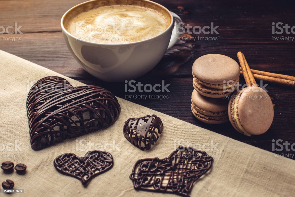 Coffee Cappuccino With Beautiful Foam Next Macarons And Chocolate