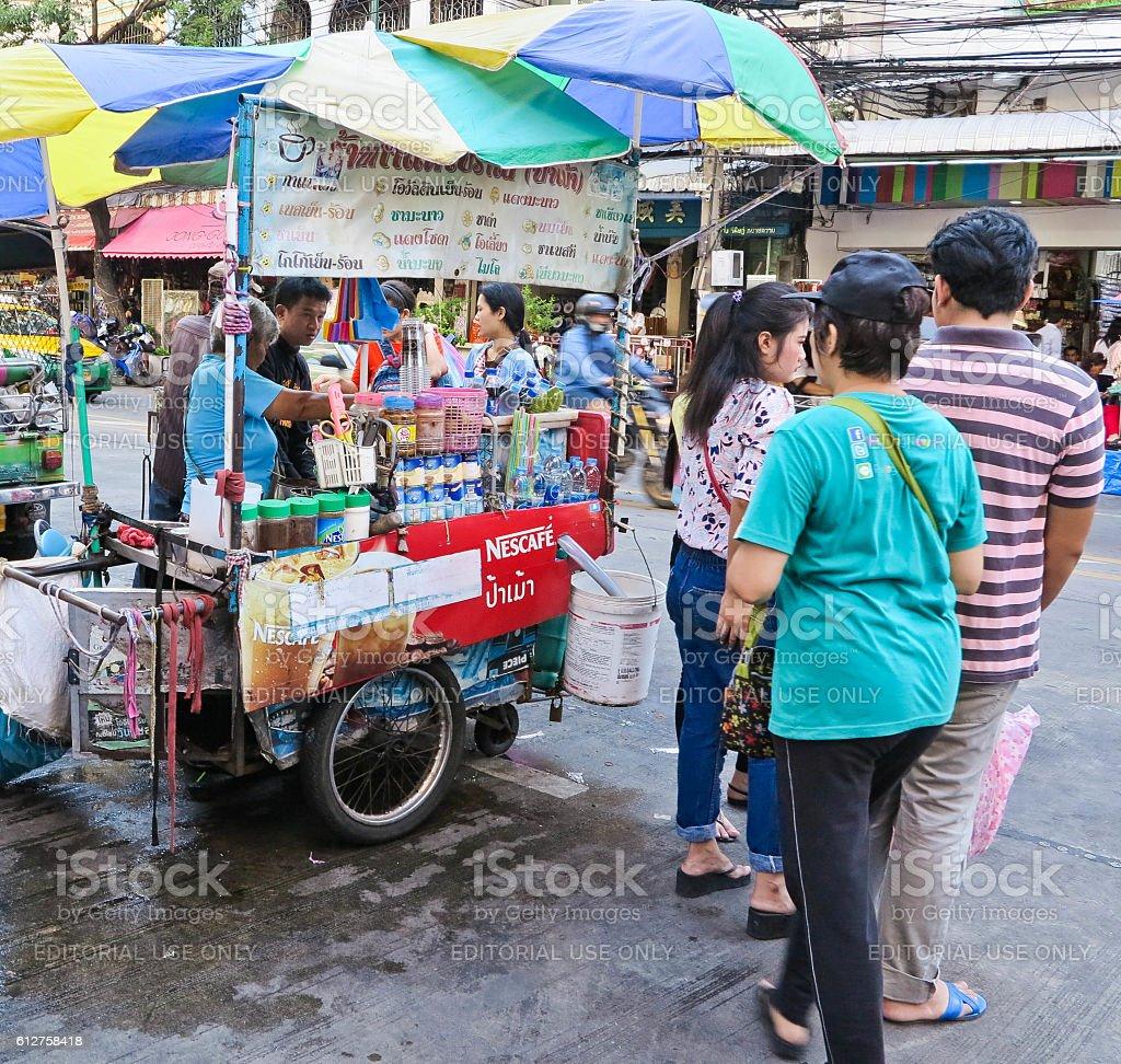 coffee cart stall on street at sampeng market thailand. stock photo