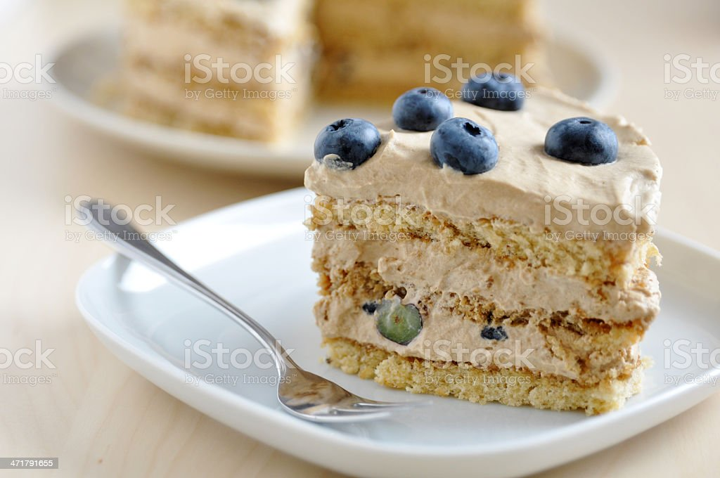Coffee Cheesecake with blueberries royalty-free stock photo