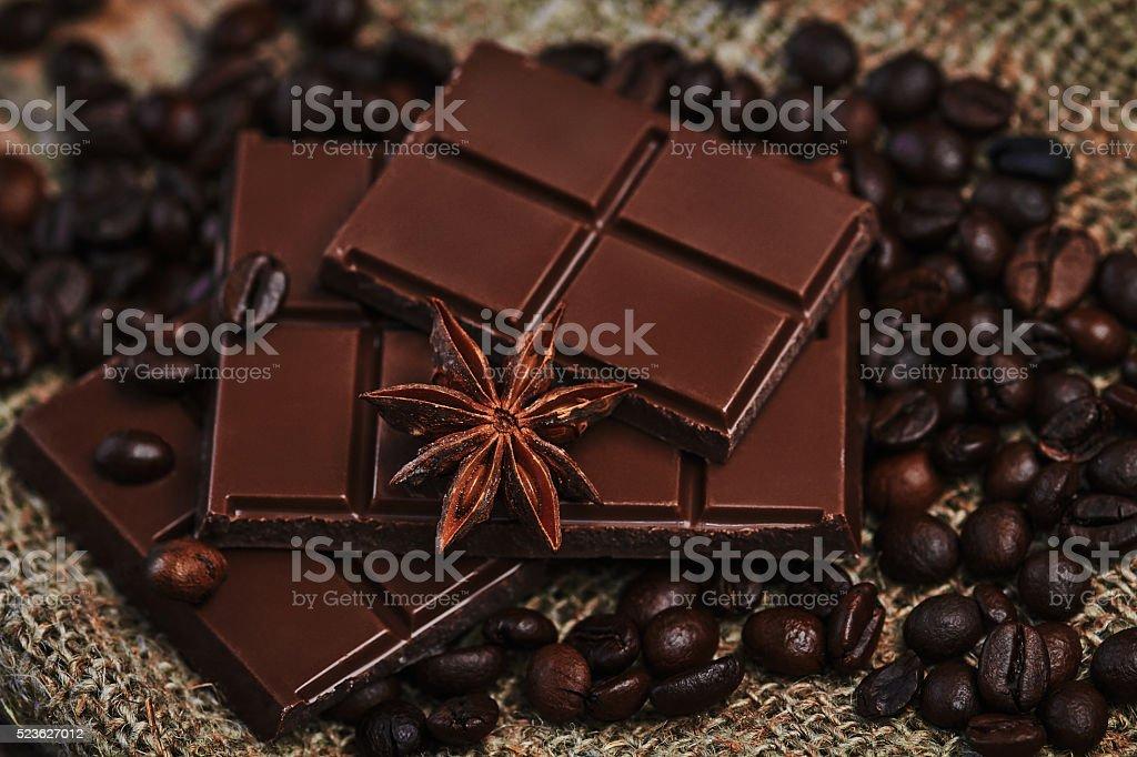 Coffee, chocolate and star anise stock photo