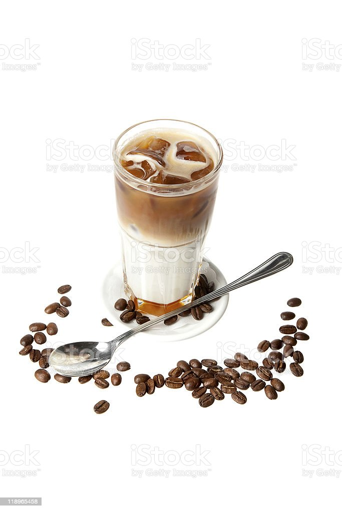 coffee cocktail with spoon and beans royalty-free stock photo