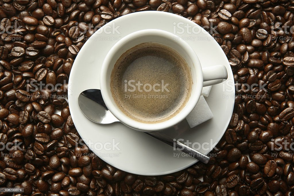 Coffee: Coffee Beans and Cup royalty-free stock photo