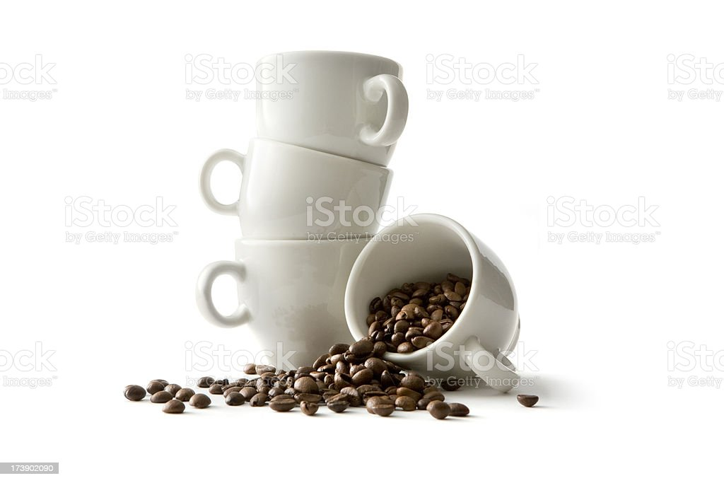 Coffee: Coffee Beans and Cups royalty-free stock photo