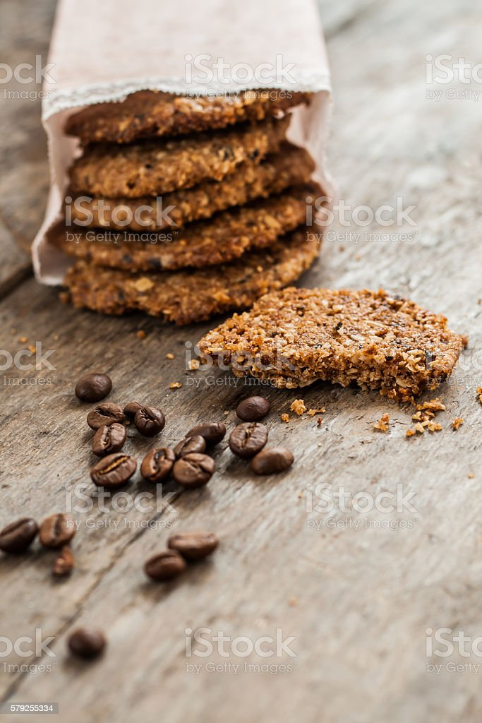 coffee cookies in a paper bag and scattered the table stock photo