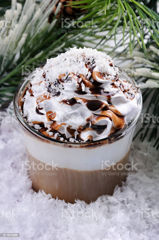 coffee cream in irish  mug stock photo