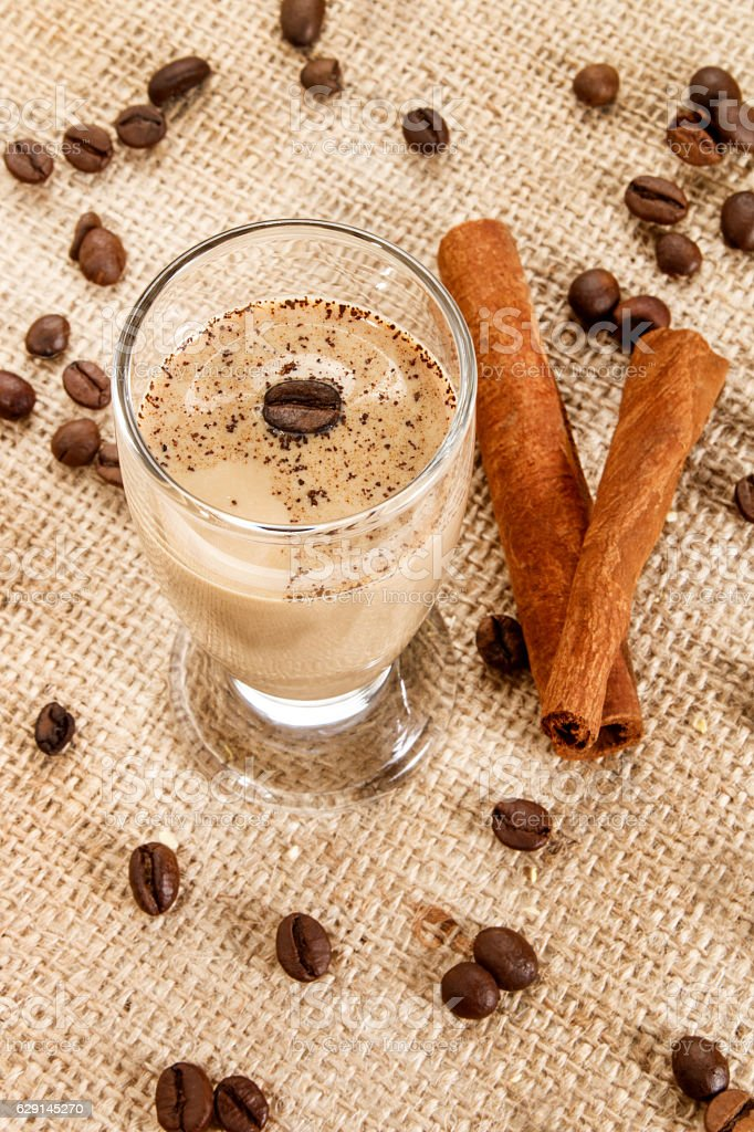 coffee cream liqueur in a glass  with coffee beans stock photo