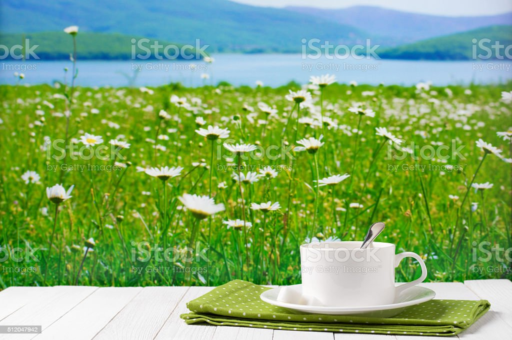 Coffee cup against blooming meadow stock photo
