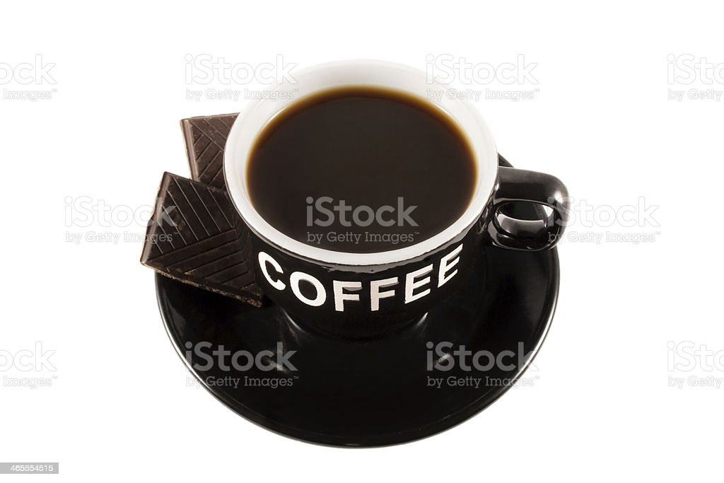 coffee cup and a piece of chocolate royalty-free stock photo