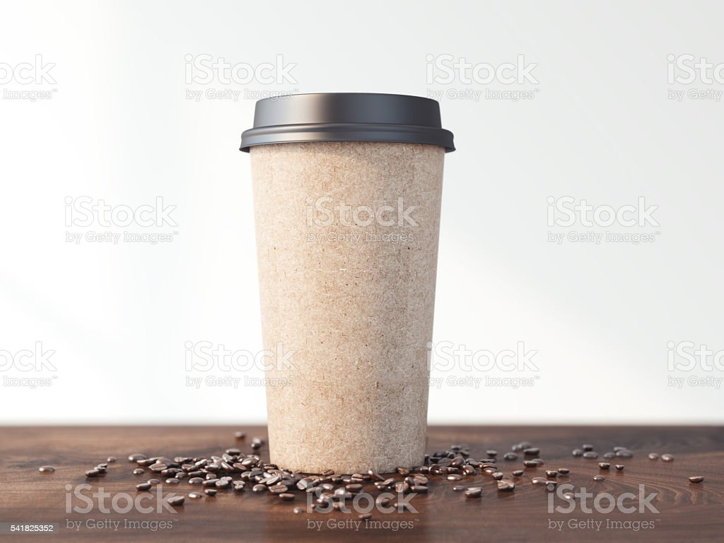 Coffee cup and beans on the wooden table . 3d rendering stock photo