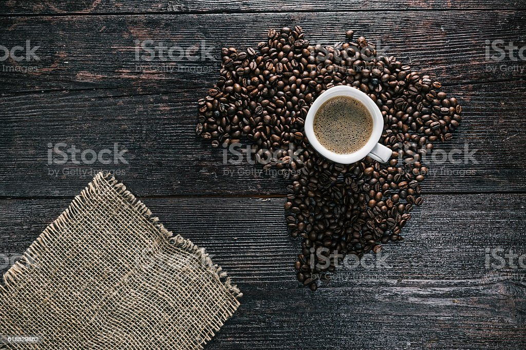 Coffee cup and beans stock photo