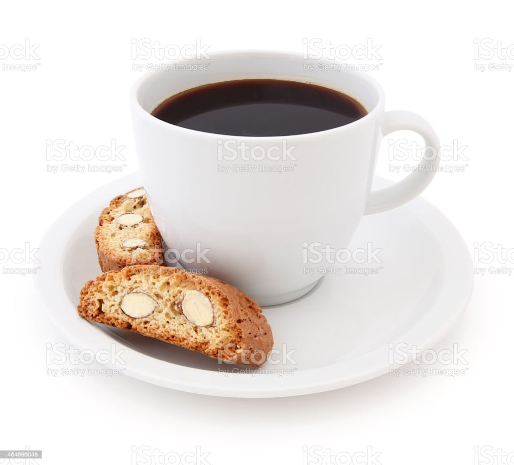 Coffee Cup and Biscottis (with path) stock photo