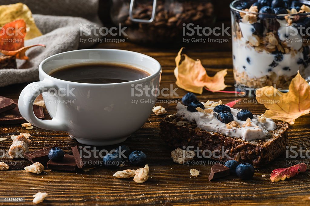 Coffee Cup and Blueberry Toast stock photo