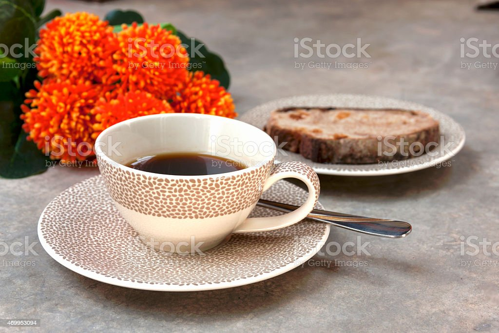 Coffee cup and bread in the background royalty-free stock photo