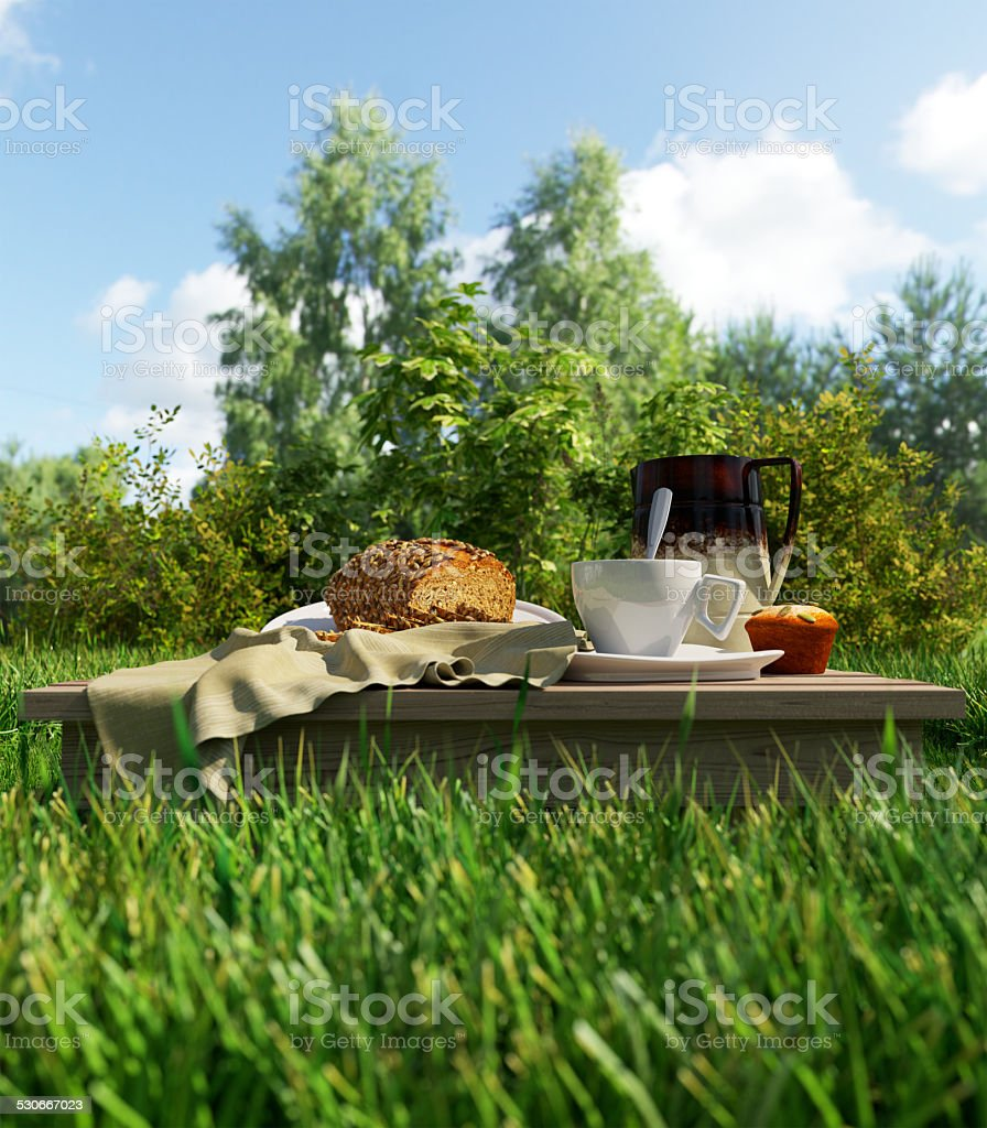 Coffee cup and bread picnic vacation relaxing concept stilllife stock photo