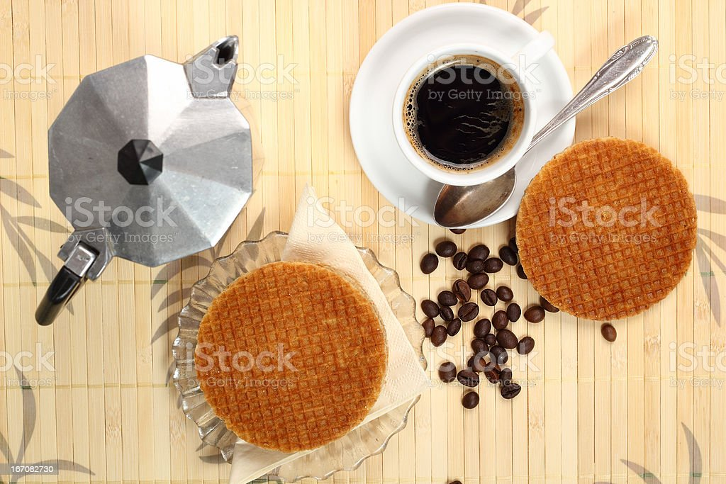 Coffee Cup and Caramel Wafer stock photo