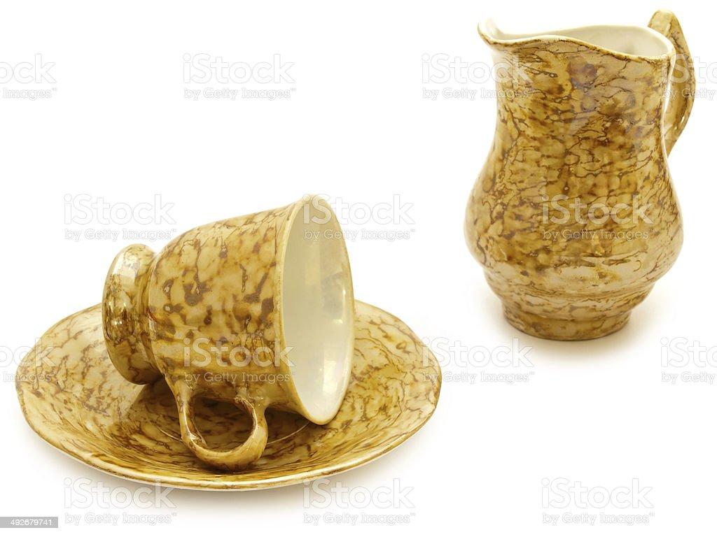 Coffee Cup And Cream Jug stock photo