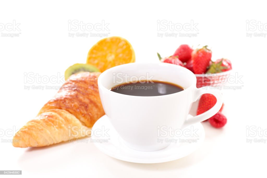 coffee cup and croissant stock photo
