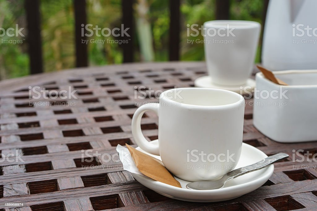 Coffee cup and equipment stock photo