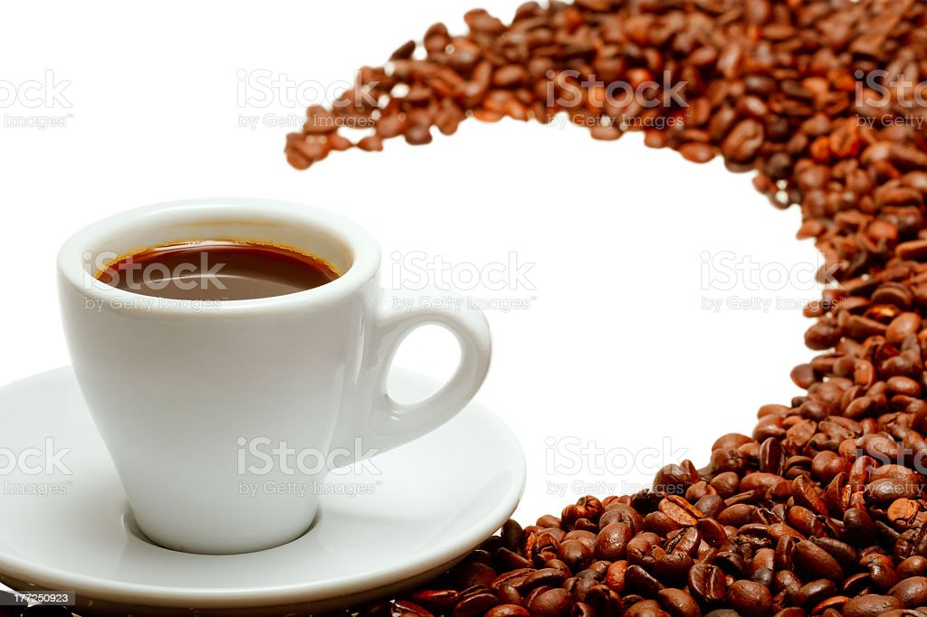 Coffee cup and grain on white background royalty-free stock photo