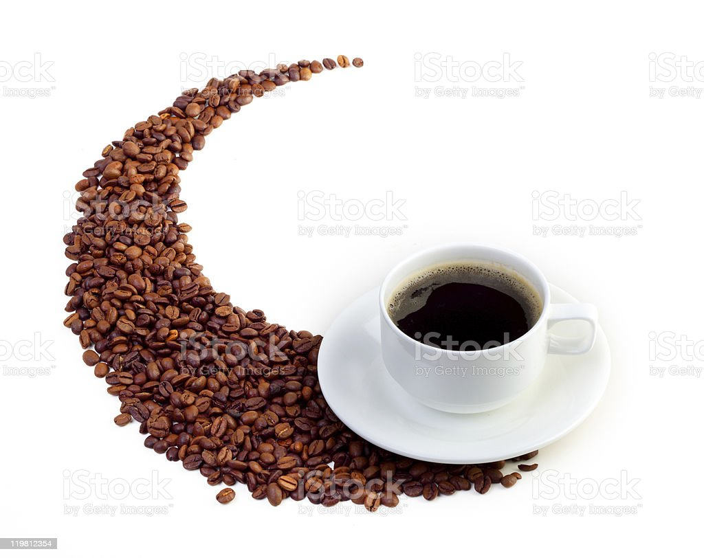 Coffee cup and grain stock photo