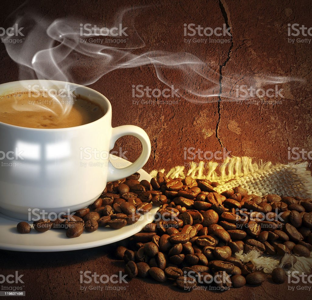 Coffee cup and grain. royalty-free stock photo