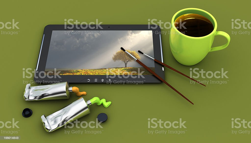 Coffee cup and paint supplies by digital tablet royalty-free stock photo