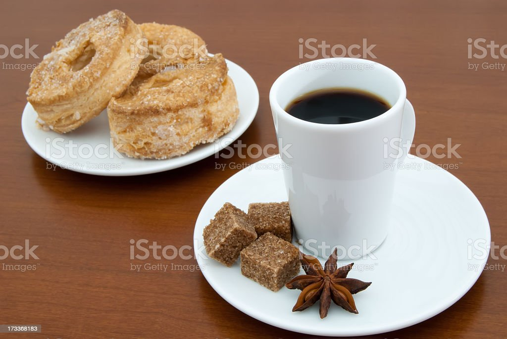 coffee cup and puff pastry royalty-free stock photo