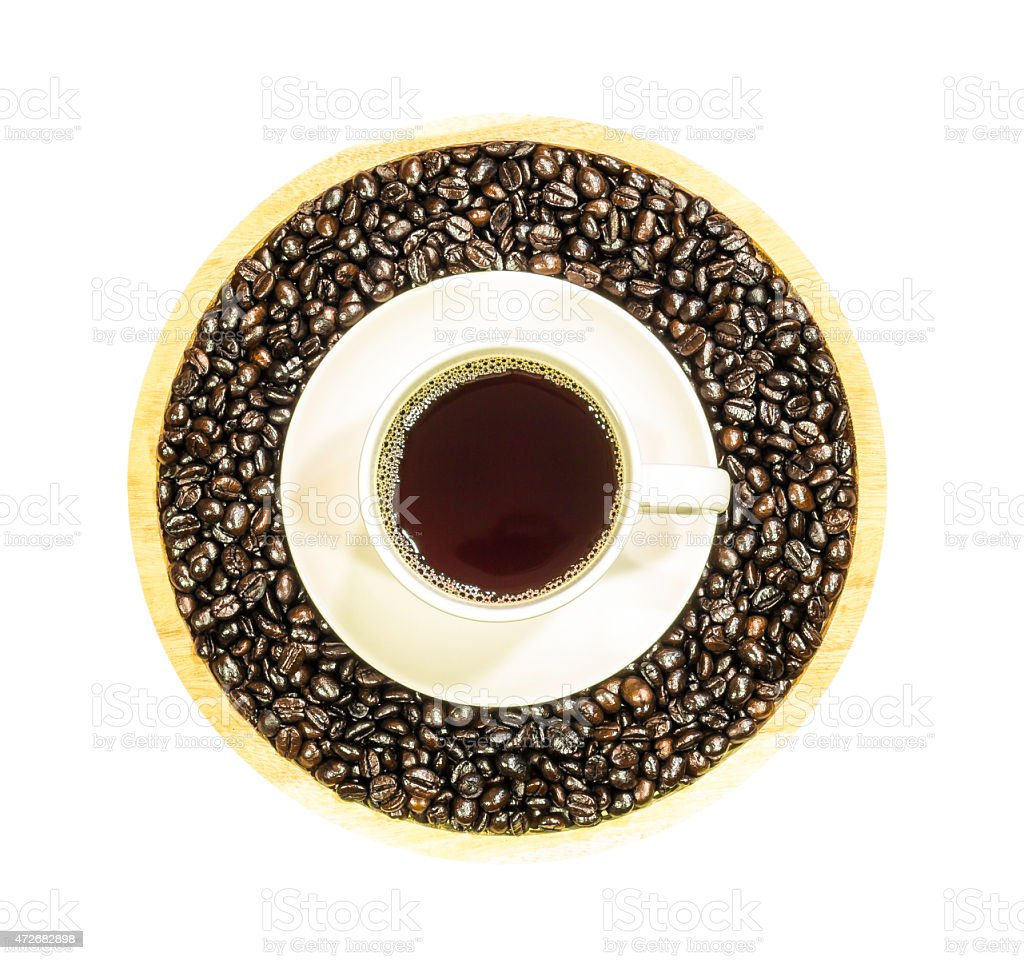 Coffee cup and roasted beans isolated stock photo