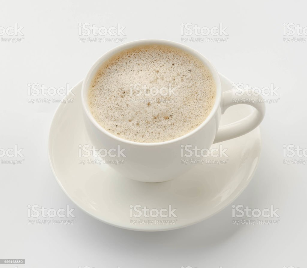Coffee cup and saucer on a white background. stock photo