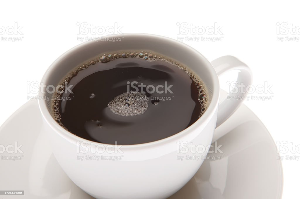 Coffee cup and saucer on white royalty-free stock photo