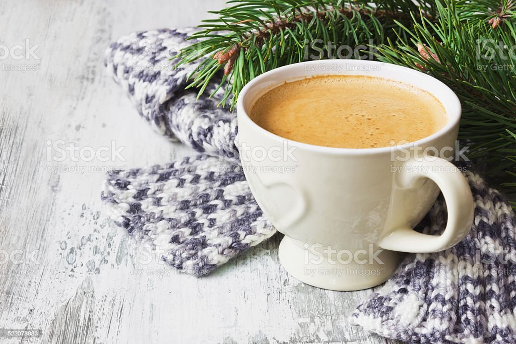 coffee cup and  scarf stock photo