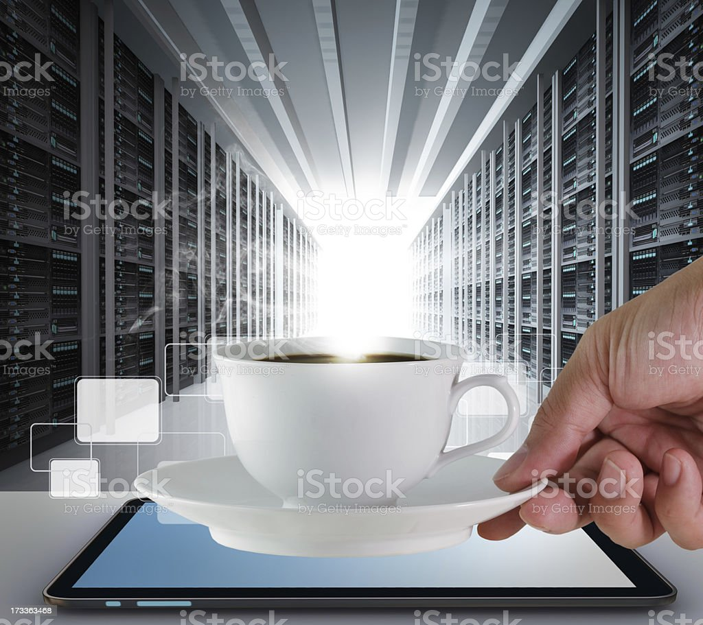 coffee cup and server room royalty-free stock photo