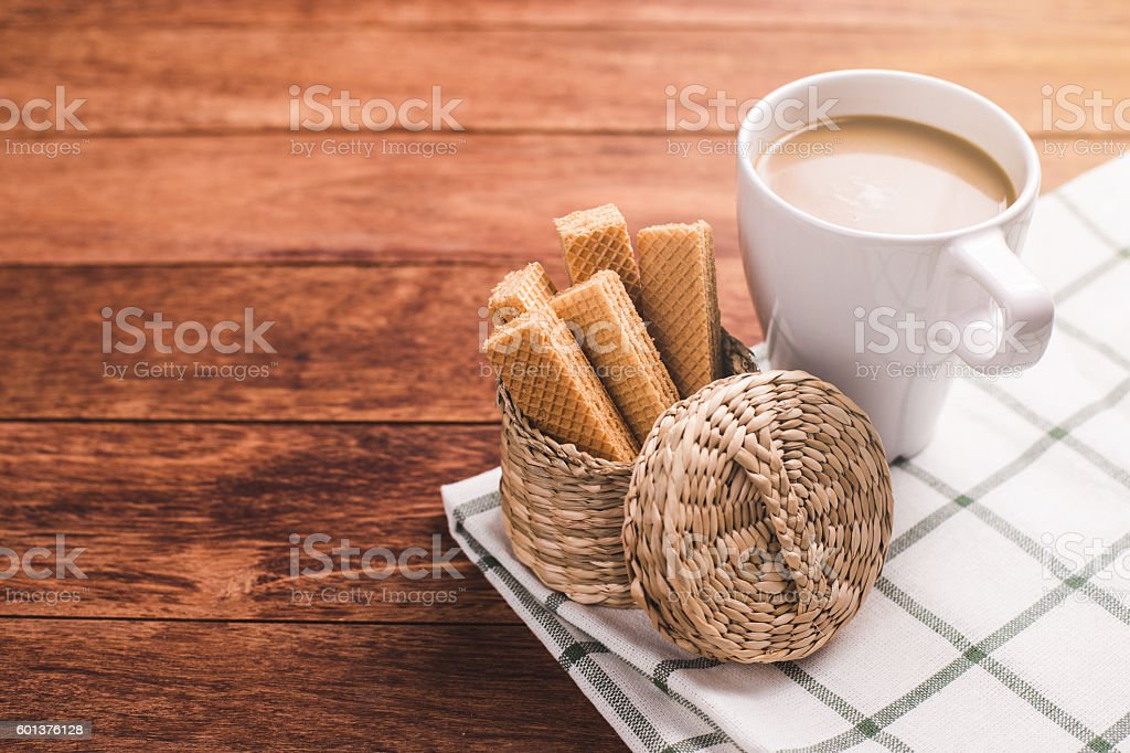 Coffee cup and wafers stock photo