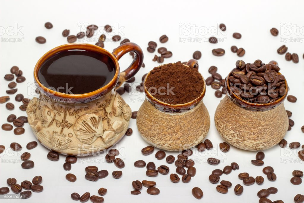 coffee cup assortment top view collection isolated on white background stock photo