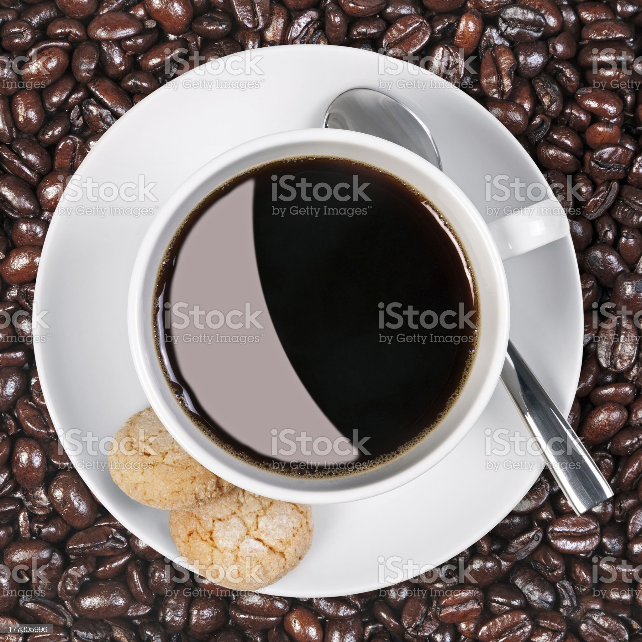 Coffee cup biscuits and beans. royalty-free stock photo